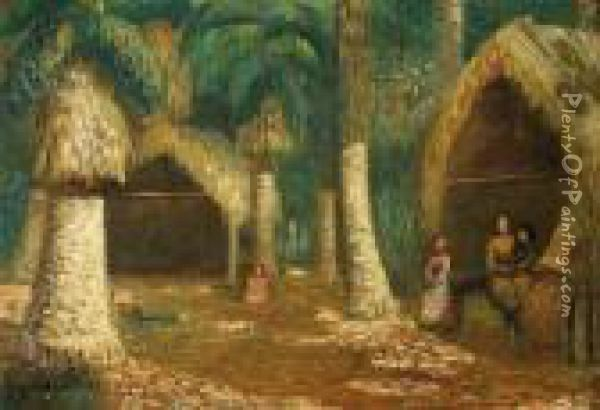 Village Oil Painting - Theodore Wores