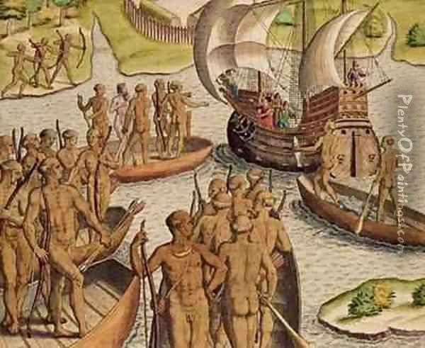 The Lusitanians send a second Boat towards me Oil Painting - Theodore de Bry