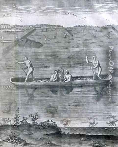 Their Manner of Fishing Oil Painting - Theodore de Bry