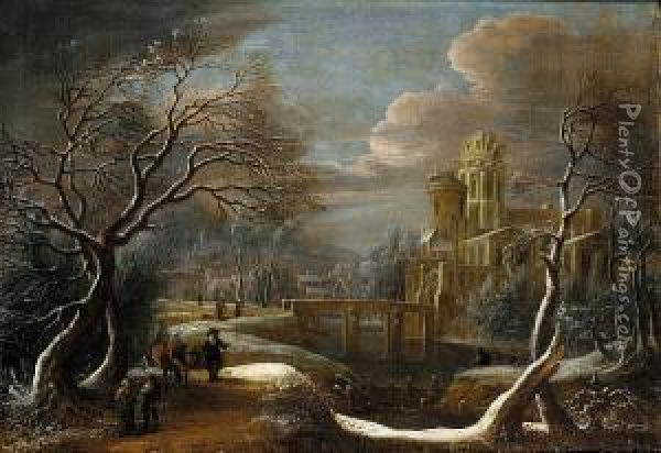 A Winter Landscape With Travellers In The Foreground, A Castle Beside A River Beyond Oil Painting - Theodore van Heil