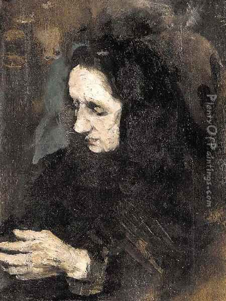 Etude pour le portrait de la soeur du peintre (Study for a portrait of the artist's sister) Oil Painting - Theodule Augustine Ribot