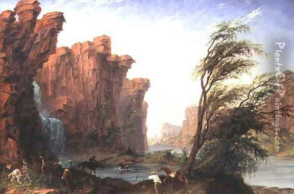 Harry Gregory Crossing Ford or Waterfall on Jasper Creek Oil Painting - Thomas Baines