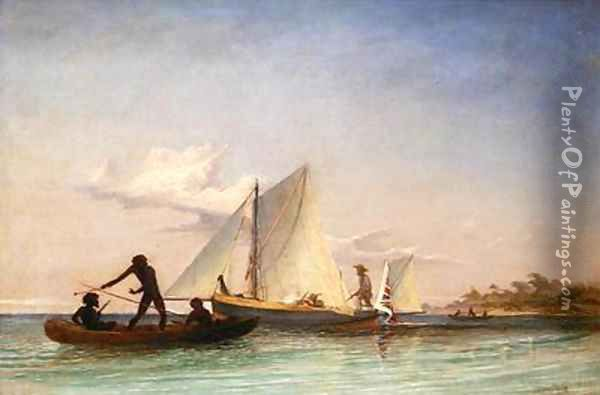 The Long Boat of the Messenger attacked by Natives Oil Painting - Thomas Baines