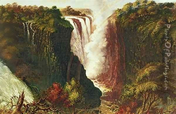 Victoria Falls from Western End of Chasm Oil Painting - Thomas Baines
