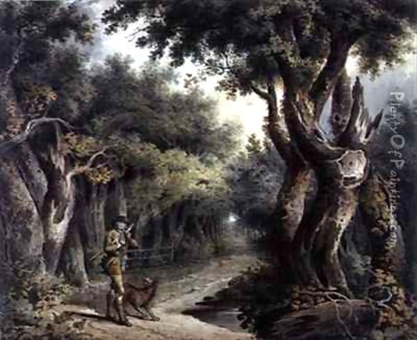 Forest Scene with Woodman and Dog Oil Painting - Thomas Barker of Bath