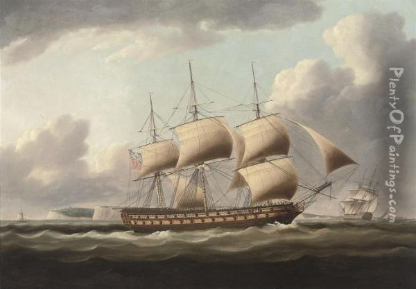 A 64-gun Warship In Two-positions In The Downs, With Walmer Castlein The Distance Oil Painting - Thomas Buttersworth