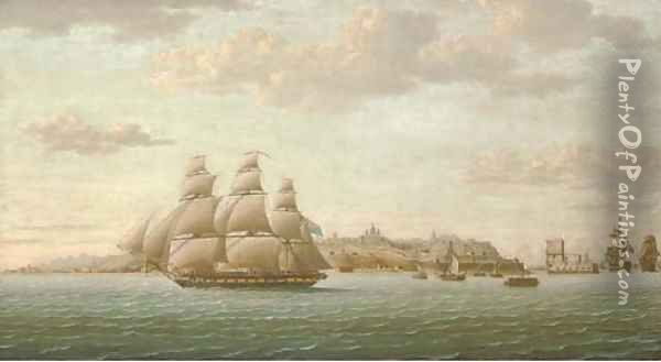 Captain Lord Cochrane's frigate Pallas leaving the Tagus under full sail, the city of Lisbon beyond and the Belem Tower receding astern Oil Painting - Thomas Buttersworth