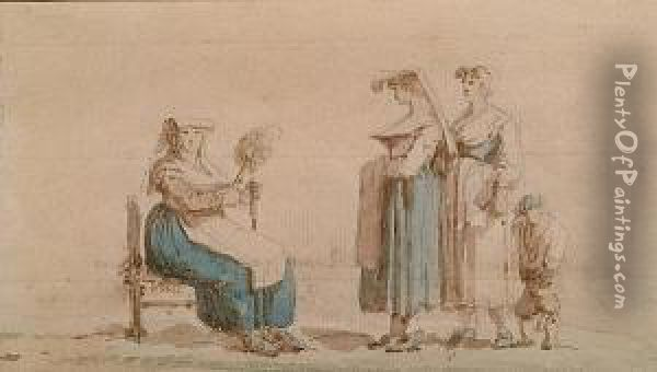 A. Three Peasant Women And A Child, One Seated And Holding A Distaff Oil Painting - Thomas Charles Naudet