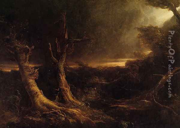 A Tornado in the Wilderness Oil Painting - Thomas Cole
