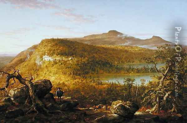 A View of the Two Lakes and Mountain House, Catskill Mountains 1844 Oil Painting - Thomas Cole