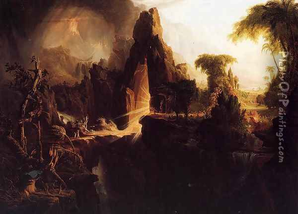 Expulsion from the Garden of Eden, 1828 Oil Painting - Thomas Cole