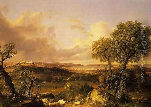 View of Boston Oil Painting - Thomas Cole