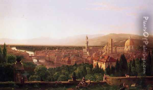 View of Florence from San Miniato Oil Painting - Thomas Cole