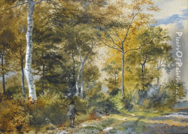 A Sportsman At The Edge Of A Wood Oil Painting - Thomas Collier