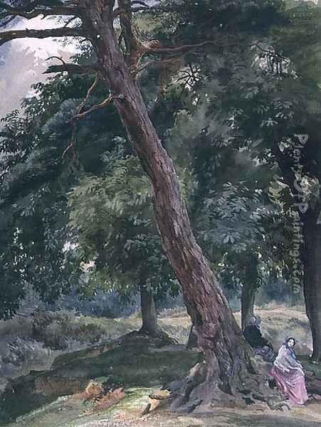 Landscape with Trees and Figures Oil Painting - Thomas Collier