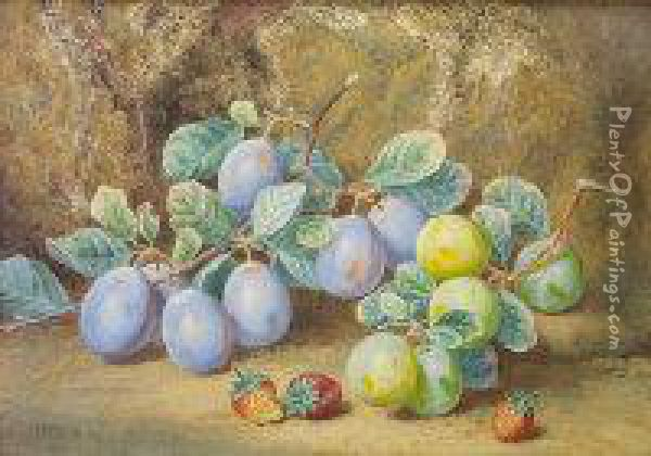 Still Life With Plums And Strawberries Oil Painting - Thomas Collier