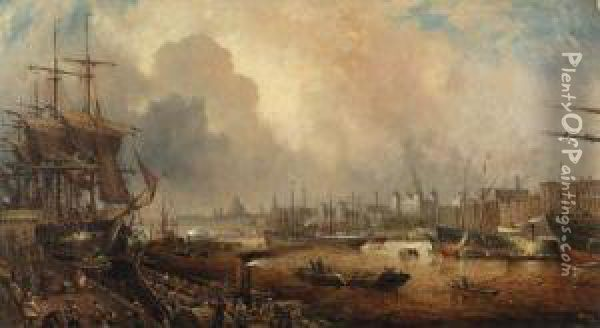 The Pool Of London Oil Painting - Thomas Cooper Moore