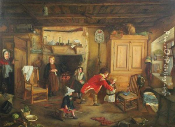 Interior With Children At Play Oil Painting - Thomas Faed