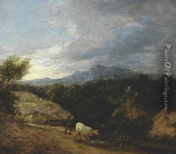 Extensive Wooded Upland Landscape C.1786, Oil On Canvas Oil Painting - Thomas Gainsborough