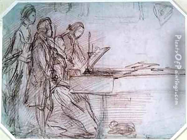 Study for a Group Portrait of a Musical Party Oil Painting - Thomas Gainsborough