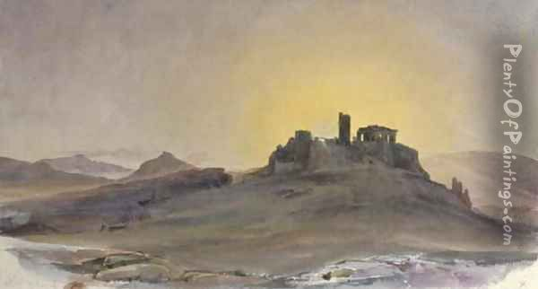 The Acropolis of Athens at sunset Oil Painting - Thomas Hartley Cromek