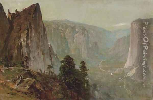 Westward View from Union Point, Yosemite Valley Oil Painting - Thomas Hill