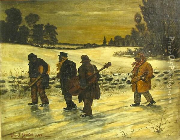 Musicians On The Road Oil Painting - Thomas James Judkin