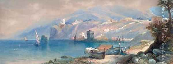 On the Northern Italian coast Oil Painting - Thomas Miles Richardson, Jnr.