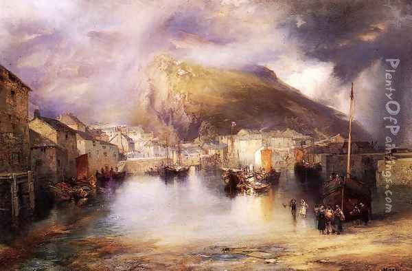 An English Fishing Village Polperro Cornwall Oil Painting - Thomas Moran
