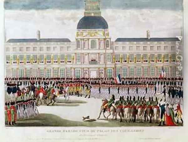 Parade in the Courtyard of the Palais des Tuileries in the Presence of the Emperor Oil Painting - Thomas Naudet