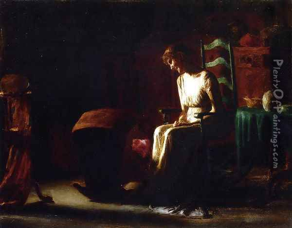 Woman in a Rocking Chair Oil Painting - Thomas Pollock Anschutz