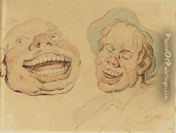 Figures Laughing Oil Painting - Thomas Rowlandson