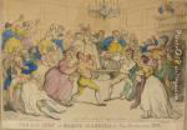 The Gig Shop Or Kicking Up A Breese Nell Hammilton's Hop Oil Painting - Thomas Rowlandson
