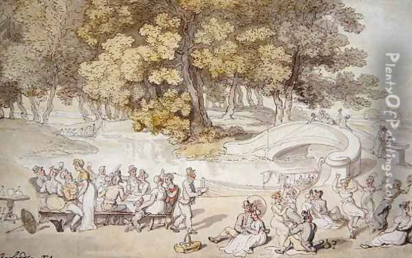 The Picnic, 1820 Oil Painting - Thomas Rowlandson