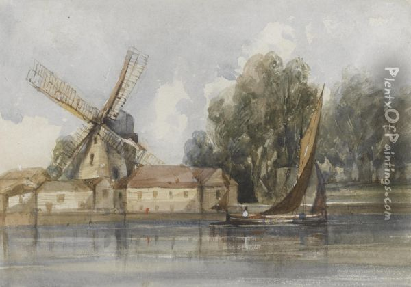 A Wherry Passing A Windmill And Farm Buildings Oil Painting - Thomas Shotter Boys