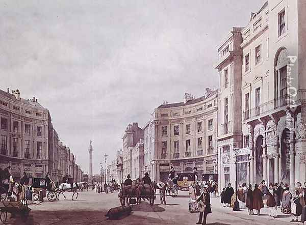 View of Regent Steet, looking towards the Duke of York's column, 1842 Oil Painting - Thomas Shotter Boys