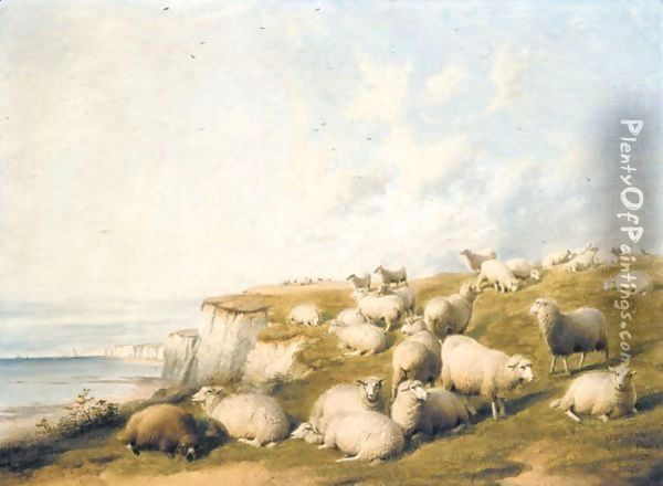 The Flock Oil Painting - Thomas Sidney Cooper