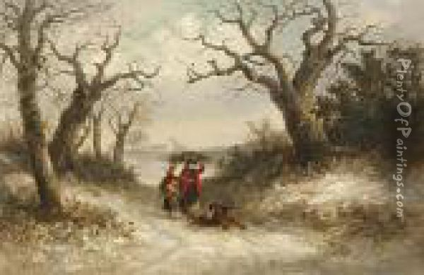 A Family Gathering Faggots And Holly In A Snow Covered Landscape Oil Painting - Thomas Smythe