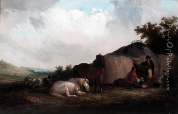 A Gypsy Encampment Oil Painting - Thomas Smythe