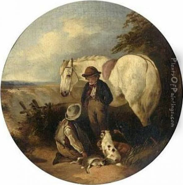 Two Boys With Pony, Dogs And Game, And Another Similar Oil Painting - Thomas Smythe