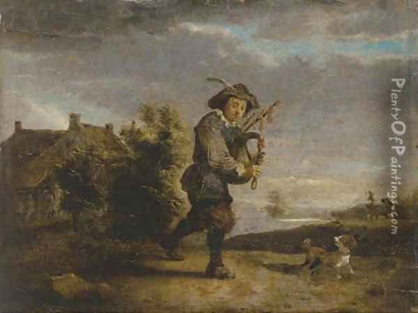 A bagpipe player in a landscape Oil Painting - Thomas Van Apshoven