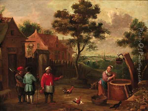 Peasants conversing on a track by a well in a village Oil Painting - Thomas Van Apshoven