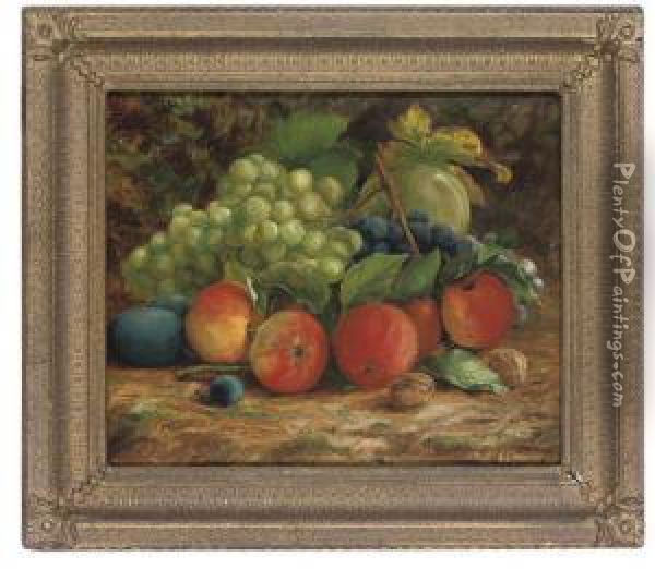 Apples, Grapes, Plums And Walnuts On A Bank Oil Painting - Thomas Waller