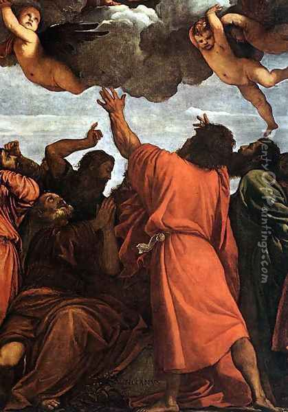 Assumption of the Virgin (detail) 4 Oil Painting - Tiziano Vecellio (Titian)