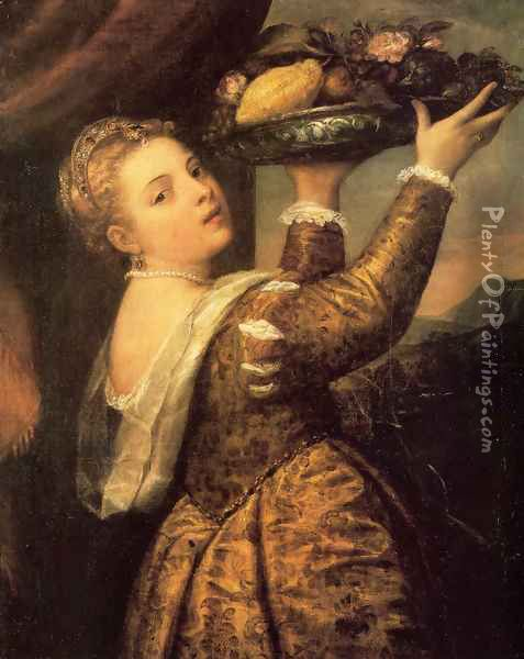Girl with a Basket of Fruits (Lavinia) 1555-58 Oil Painting - Tiziano Vecellio (Titian)