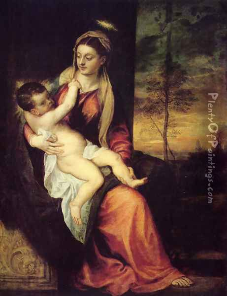 Mary with the Christ Child Oil Painting - Tiziano Vecellio (Titian)