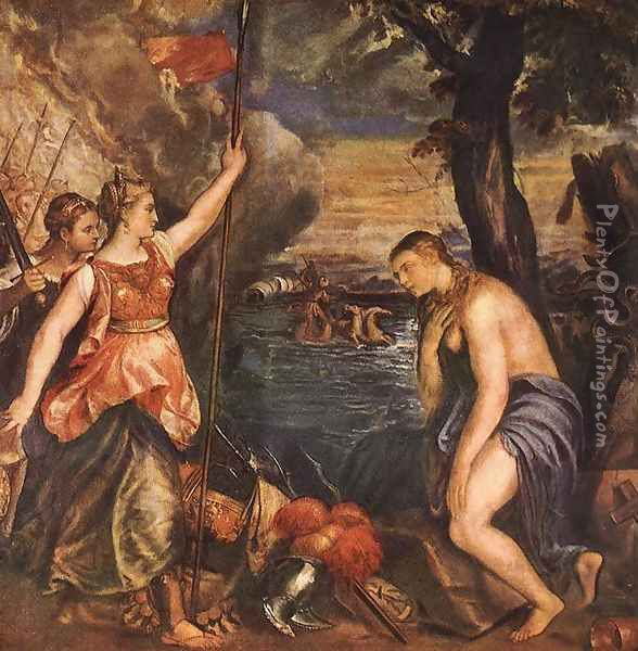 Religion Helped by Spain c. 1571 Oil Painting - Tiziano Vecellio (Titian)