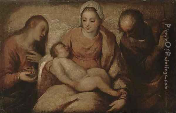 The Holy Family with Saint Mary Magdalene Oil Painting - Tiziano Vecellio (Titian)