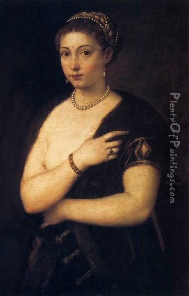 Woman in a Fur Coat Oil Painting - Tiziano Vecellio (Titian)