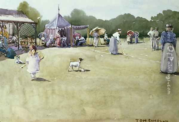 The Tennis Party, c.1930s Oil Painting - Tom Simpson